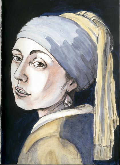 Natalie Dekel - Drawing past-lives - Self portrait after Vermeer, 2004