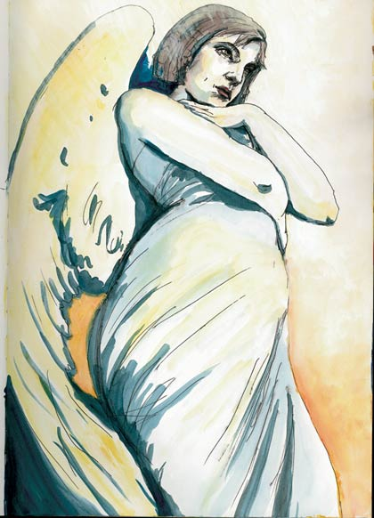 Natalie Dekel - Drawing past-lives - self portrait as pregnant angel, 2004