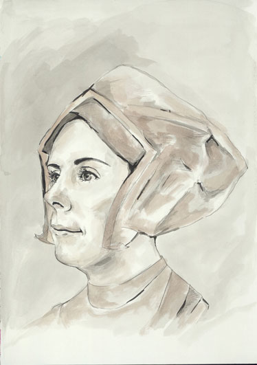 Natalie Dekel - Drawing past-lives - Emma, as Anne Boleyn, wife of Henry VIII (painted in 2008)
