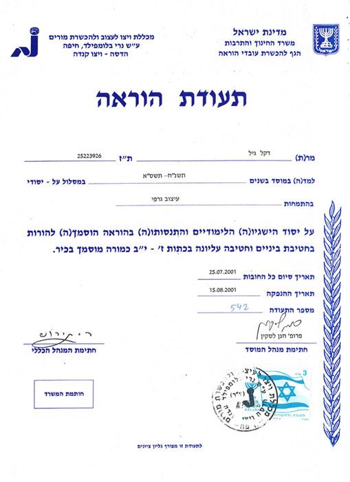 Gil Dekel - Teacher Certificate BEd Hons equiv.