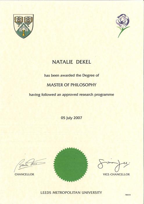 Natalie Dekel - MPhil, Leeds Beckett University