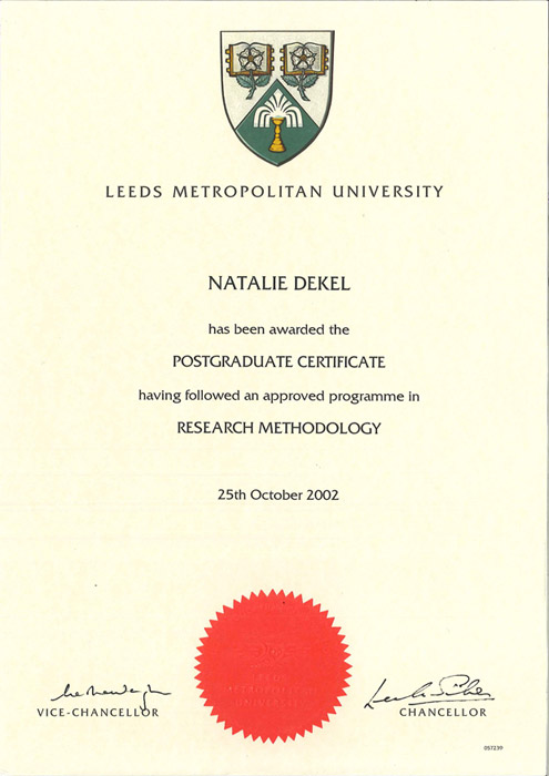 Natalie Dekel - Research Methods, Leeds Beckett University