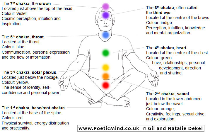 Diagram of the Seven Chakras' location on the body.