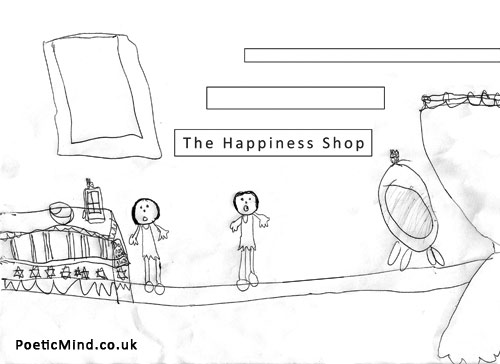 Happiness Shop (drawing © Yael Dekel)