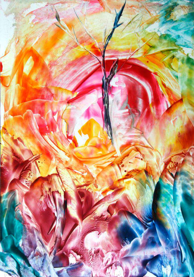 Grounding - Encaustic Wax Art by Natalie Dekel