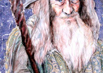 Painting of magician Merlin by Natalie Dekel