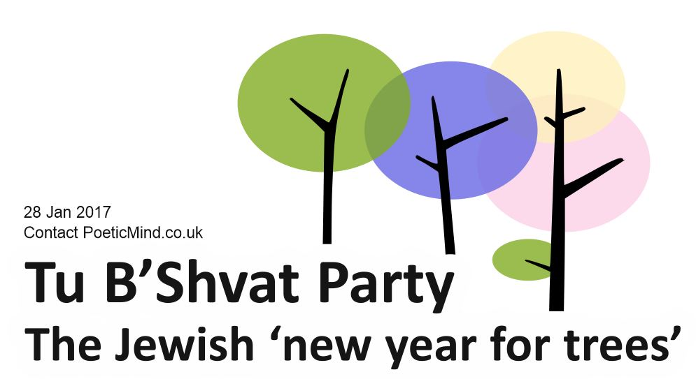 "Tu B'Shevat (Hebrew: ט״ו בשבט‎) is a Jewish holiday that marks the beginning of a 'new year' for trees, where trees start to grow fruits after the winter slumber. It is costume to eat fruits, especially the seven fruits of Israel which include pomegranates, dates, figs and grapes. The name 'Tu Bishvat' stands in Hebrew for the 15th day of the Jewish month of Shvat. The holiday is also called ""Rosh HaShanah La'Ilanot"" (""New Year of the Trees"".)"