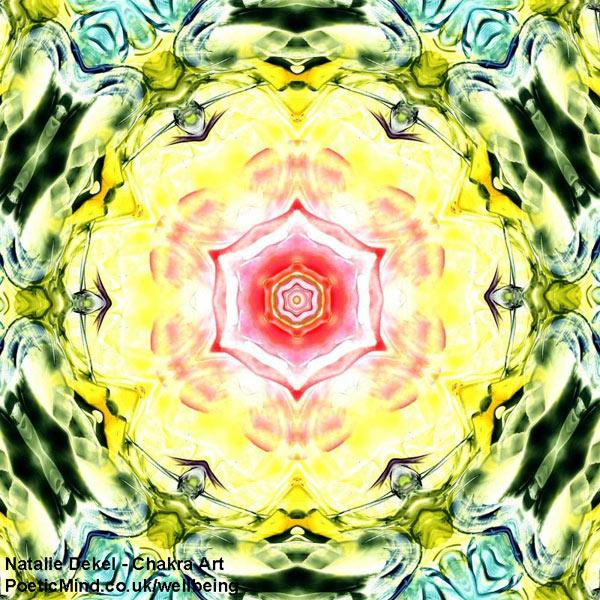 Chakra Art (#54) - by Natalie Dekel. Encaustic Wax technique.