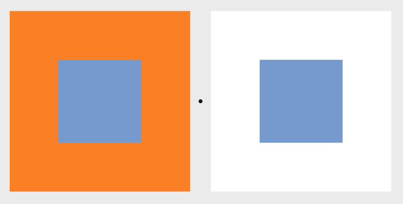 Colours can even change their perceived hue when other colours (and shapes) sit next to ‎them. For example, the two light-blue colours in the illustration below are exactly the same. ‎Their RGB value is exactly the same (R118, G154, B204). But if you compare them, you will ‎notice that the right blue looks slightly darker than the left blue... The colours shift.‎