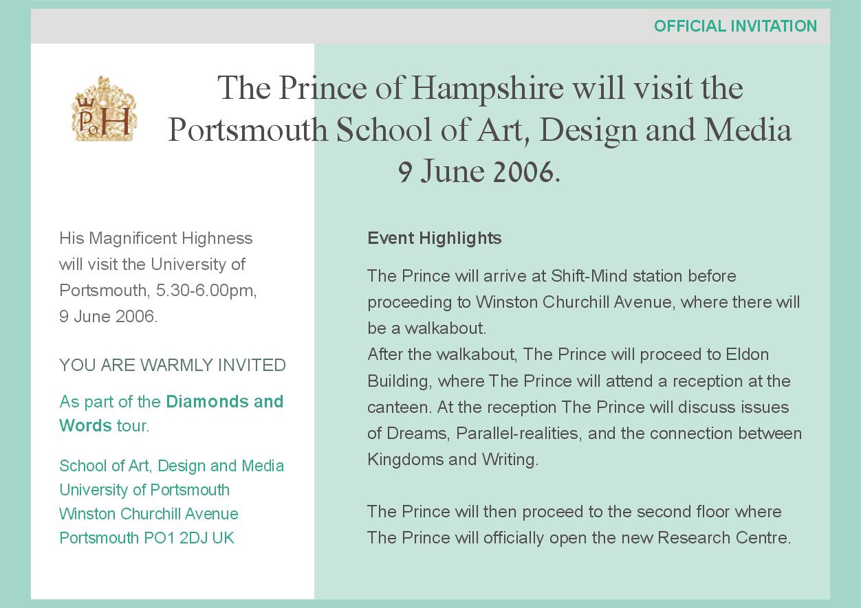 'Prince of Hampshire' - inspiration, creativity, quantum physics, words. Part of PhD research by Gil Dekel. Invitation design.