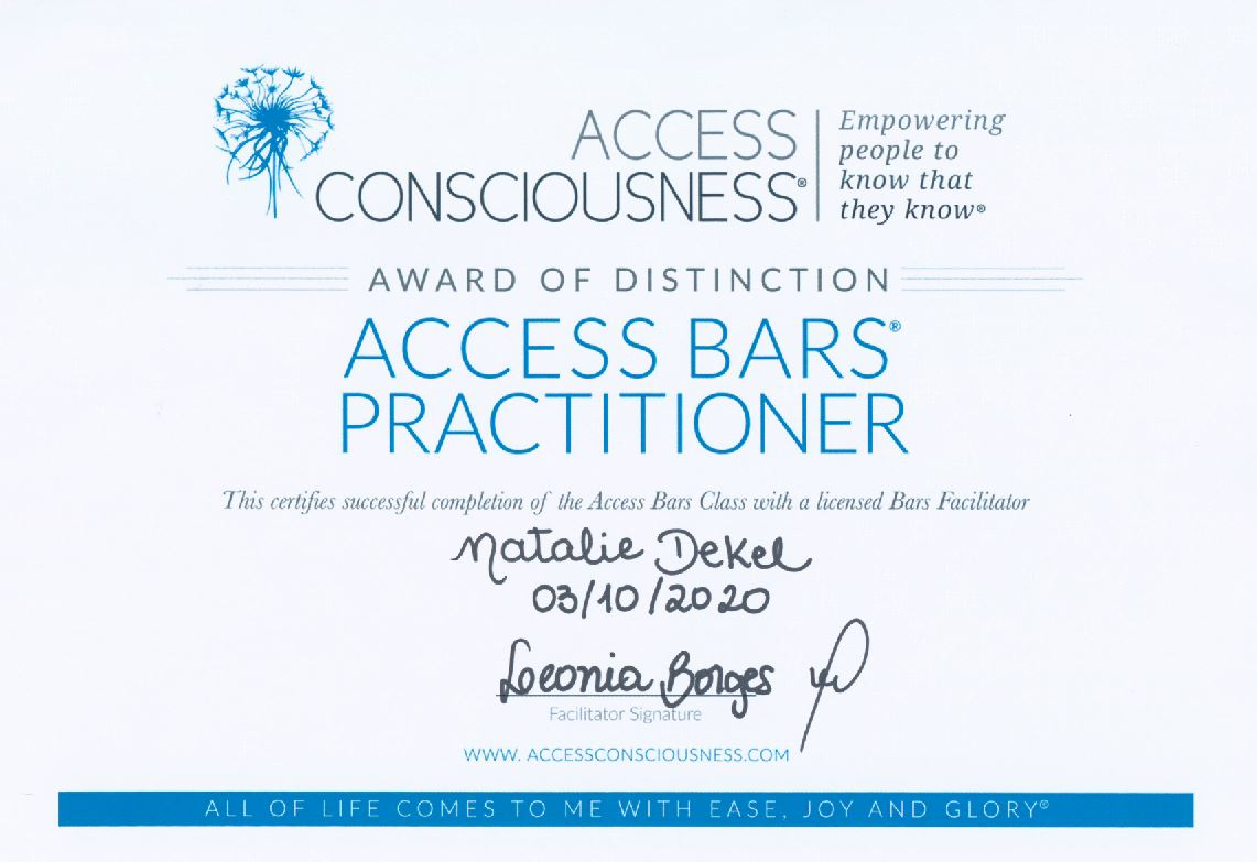 Certificate: Natalie Dekel completed Acces Bars course