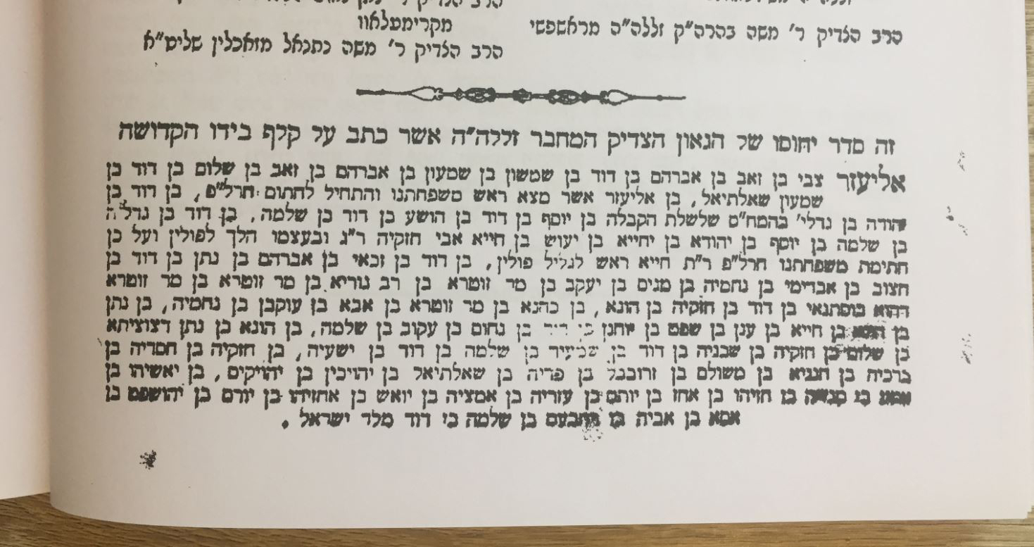 Family Tree (list of names) 'Hod Tehilah', by Ephraim Eliezer Zvi Hersch Charlap, Rabbi of Mezeritch, first published in 1899. Photo © Gil Dekel.