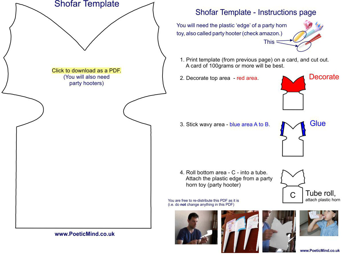 A template to make a Shofar for Rosh HaShana New Year. Gil Dekel.
